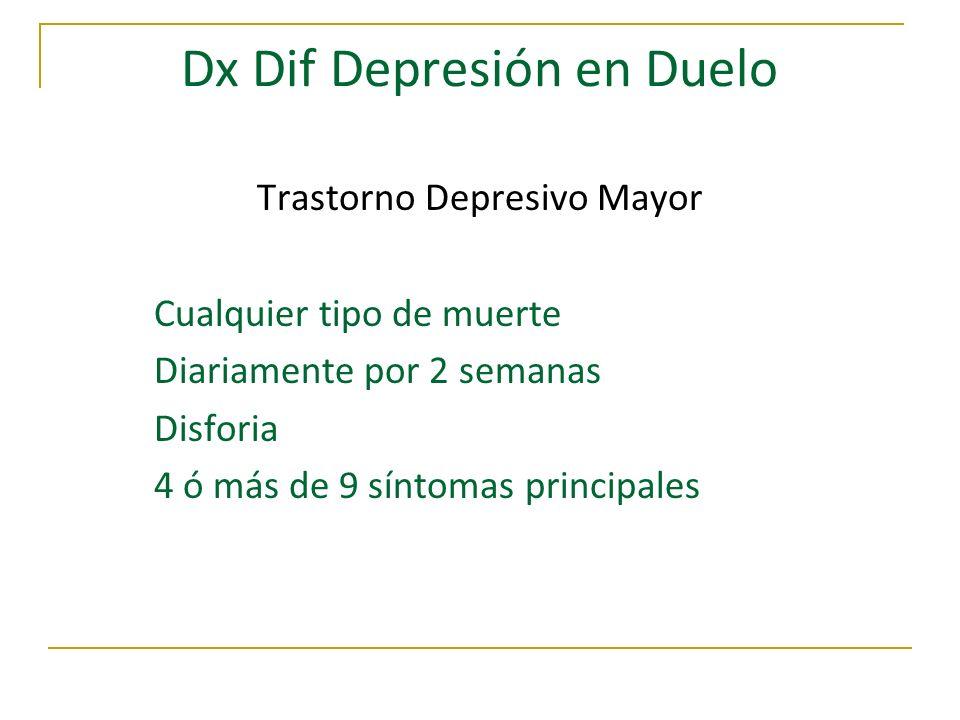 Dx Dif Depresión en Duelo Trastorno Depresivo Mayor Cualquier tipo de muerte Diariamente por 2 semanas Disforia 4 ó más de 9 síntomas principales