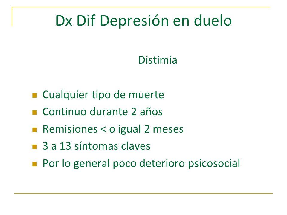 Dx Dif Depresión en duelo Distimia Cualquier tipo de muerte Continuo durante 2 años Remisiones < o igual 2 meses 3 a 13 síntomas claves Por lo general
