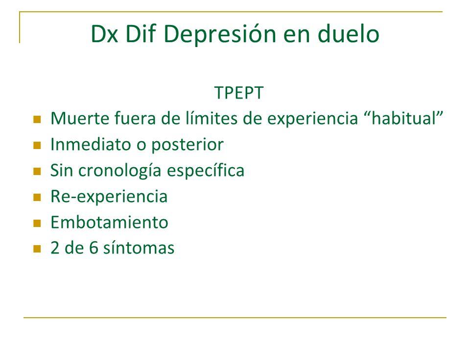 Dx Dif Depresión en duelo TPEPT Muerte fuera de límites de experiencia habitual Inmediato o posterior Sin cronología específica Re-experiencia Embotam