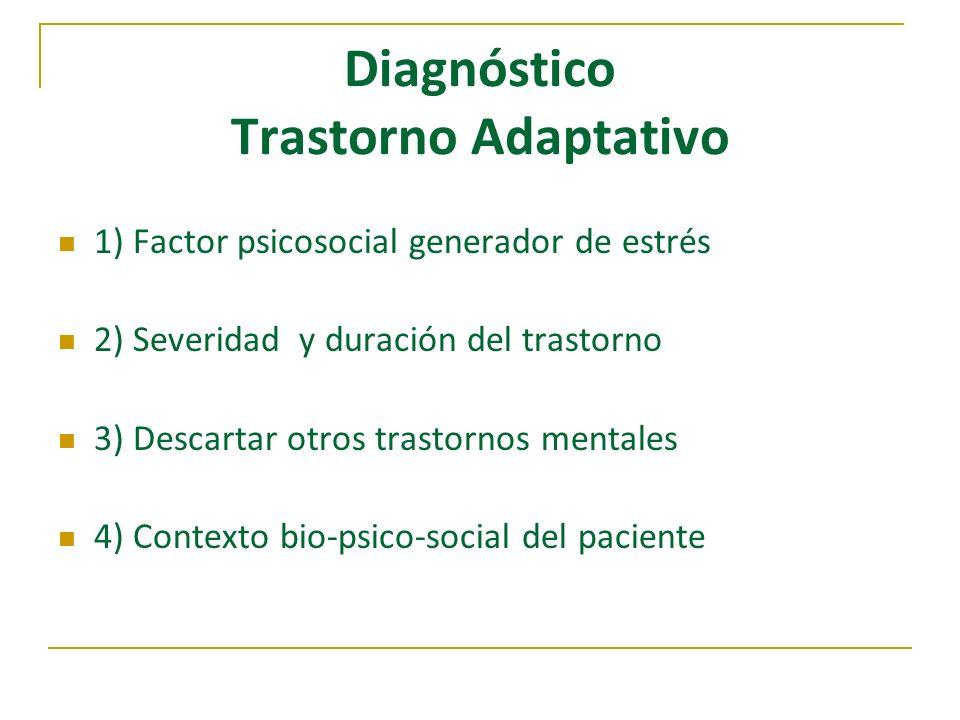 Diagnóstico Trastorno Adaptativo 1) Factor psicosocial generador de estrés 2) Severidad y duración del trastorno 3) Descartar otros trastornos mentale
