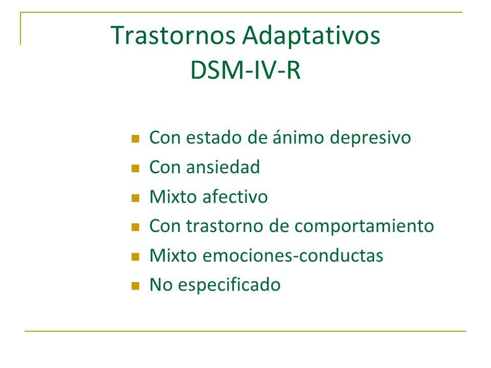 Criterios Diagnósticos TA DSM-IV A) Síntomas emocionales o conductuales Estresor identificable 3 meses siguientes B) 1.- Malestar mayor de lo esperado 2.- Deterioro psicosocial C) Excluir Dx eje I No exacerbación Ejes I y/o II pre-existente