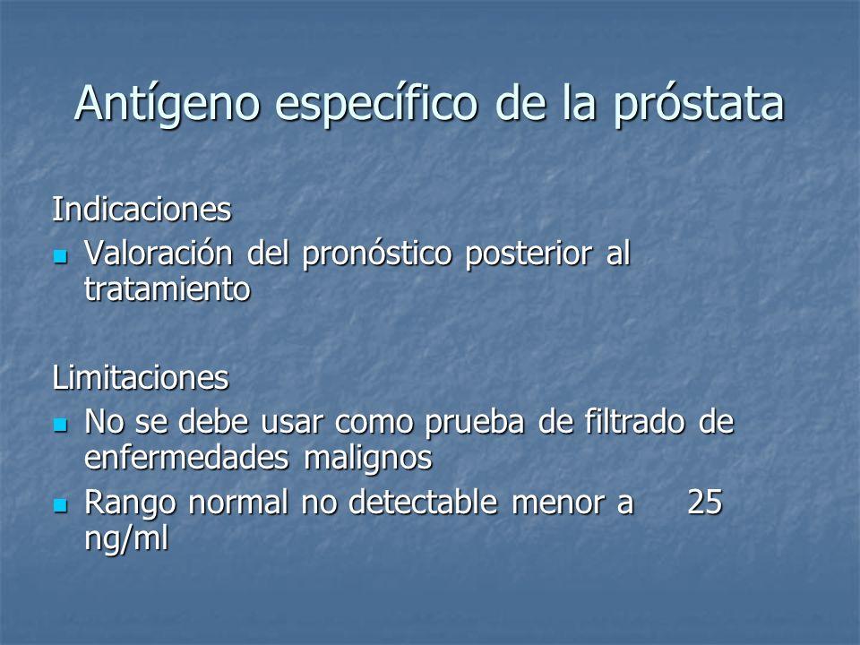 Antígeno específico de la próstata Indicaciones Valoración del pronóstico posterior al tratamiento Valoración del pronóstico posterior al tratamientoL