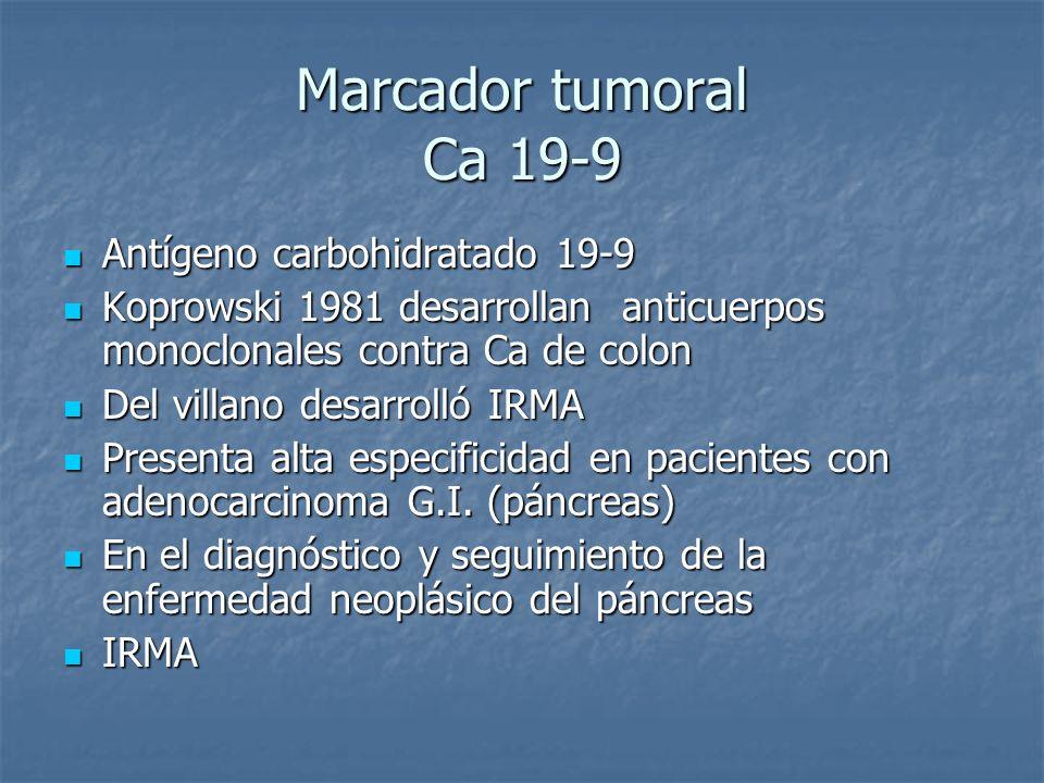 Marcador tumoral Ca 19-9 Antígeno carbohidratado 19-9 Antígeno carbohidratado 19-9 Koprowski 1981 desarrollan anticuerpos monoclonales contra Ca de co