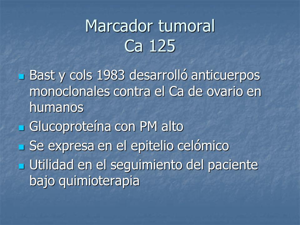 Marcador tumoral Ca 125 Bast y cols 1983 desarrolló anticuerpos monoclonales contra el Ca de ovario en humanos Bast y cols 1983 desarrolló anticuerpos