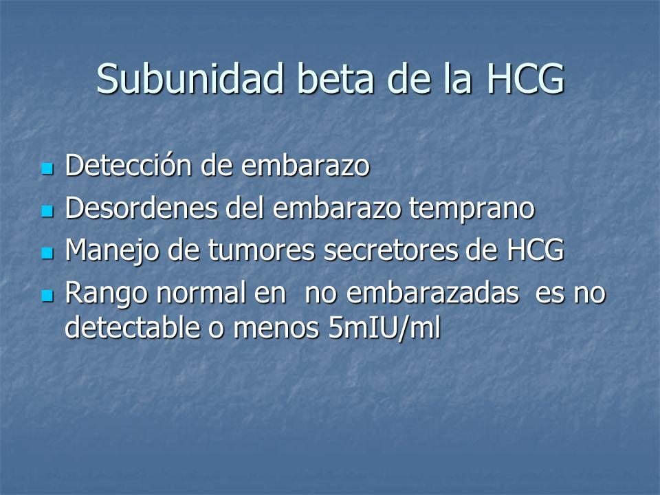 Subunidad beta de la HCG Detección de embarazo Detección de embarazo Desordenes del embarazo temprano Desordenes del embarazo temprano Manejo de tumor