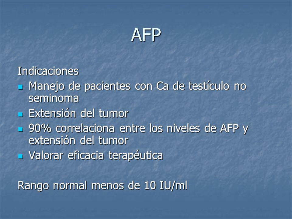 AFP Indicaciones Manejo de pacientes con Ca de testículo no seminoma Manejo de pacientes con Ca de testículo no seminoma Extensión del tumor Extensión