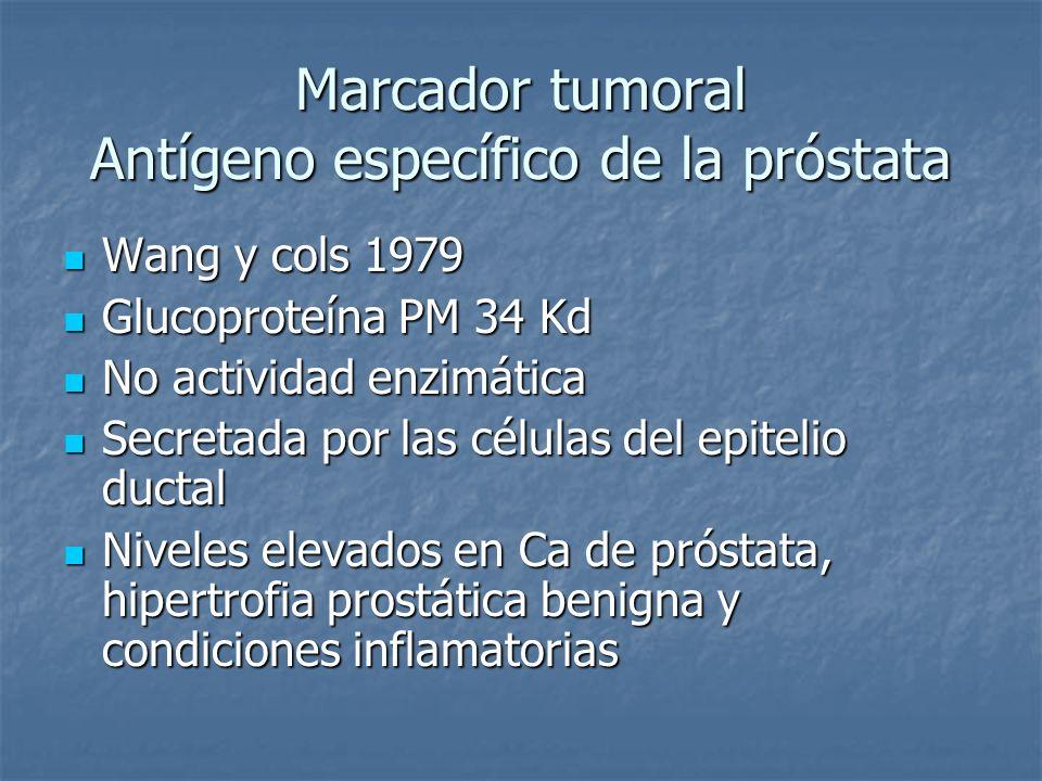 Marcador tumoral Antígeno específico de la próstata Wang y cols 1979 Wang y cols 1979 Glucoproteína PM 34 Kd Glucoproteína PM 34 Kd No actividad enzim