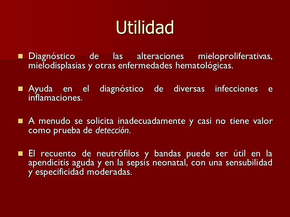 Utilidad Diagnóstico de las alteraciones mieloproliferativas, mielodisplasias y otras enfermedades hematológicas. Diagnóstico de las alteraciones miel