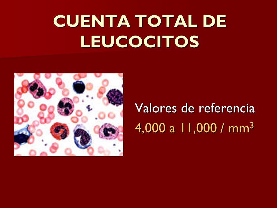 CUENTA TOTAL DE LEUCOCITOS Valores de referencia 4,000 a 11,000 / mm 3