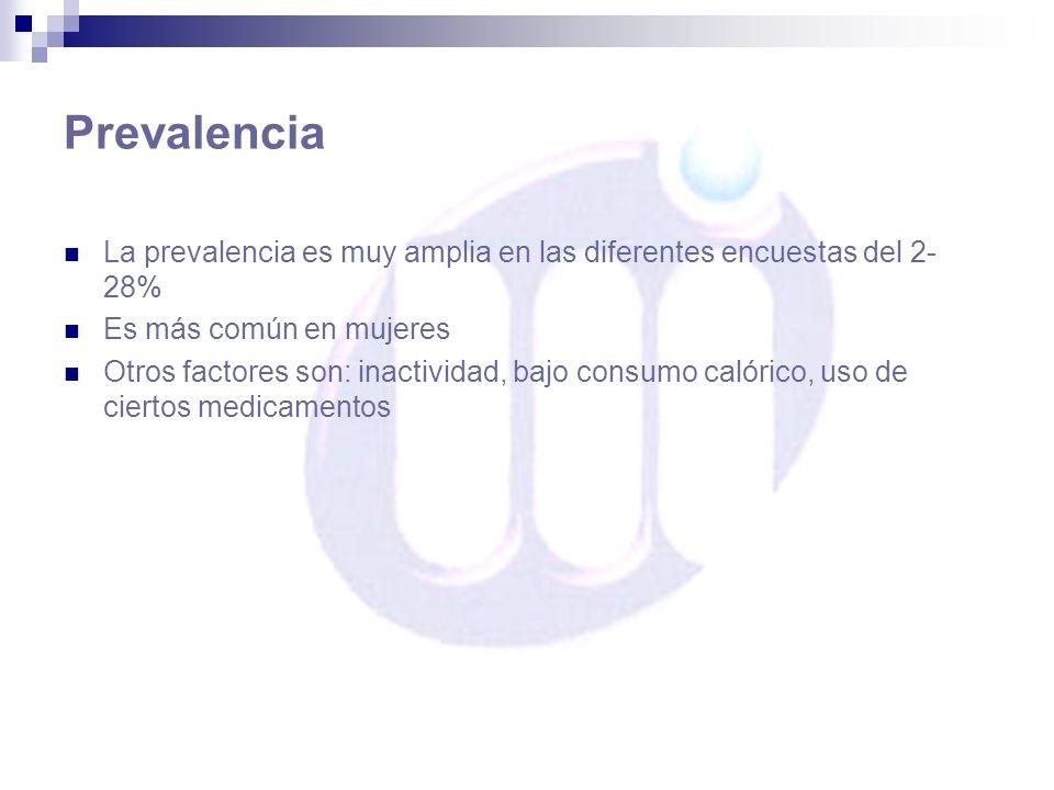 Prevalencia La prevalencia es muy amplia en las diferentes encuestas del 2- 28% Es más común en mujeres Otros factores son: inactividad, bajo consumo