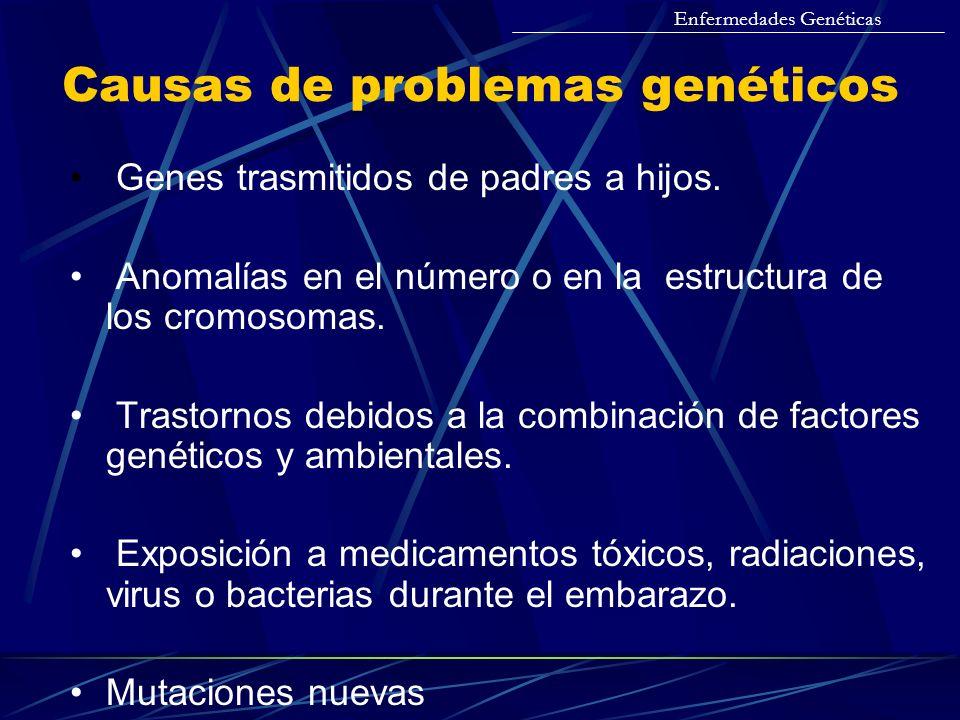 Causas de problemas genéticos Genes trasmitidos de padres a hijos. Anomalías en el número o en la estructura de los cromosomas. Trastornos debidos a l