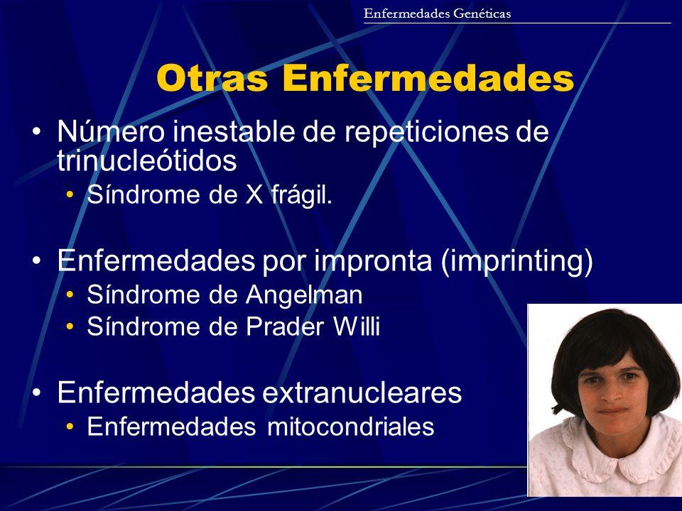 Otras Enfermedades Número inestable de repeticiones de trinucleótidos Síndrome de X frágil. Enfermedades por impronta (imprinting) Síndrome de Angelma