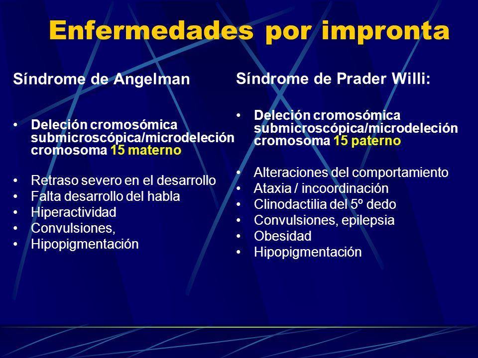 Enfermedades por impronta Síndrome de Prader Willi: Deleción cromosómica submicroscópica/microdeleción cromosoma 15 paterno Alteraciones del comportam