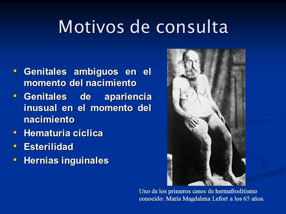 Motivos de consulta Genitales ambiguos en el momento del nacimiento Genitales ambiguos en el momento del nacimiento Genitales de apariencia inusual en