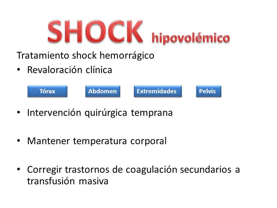 Tratamiento shock hemorrágico Revaloración clínica Intervención quirúrgica temprana Mantener temperatura corporal Corregir trastornos de coagulación s