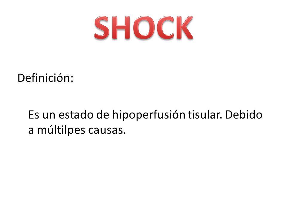 Tipos: Por reducción de volumen (hipovolémico) Por deterioro de la función cardiaca (cardiogénico) Por vasodilatación periférica (séptico, neurogénico)