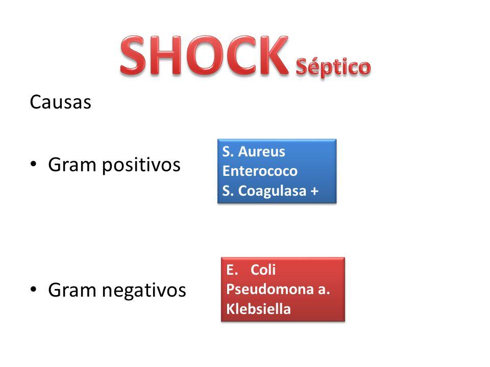 Causas Gram positivos Gram negativos S. Aureus Enterococo S. Coagulasa + S. Aureus Enterococo S. Coagulasa + E.Coli Pseudomona a. Klebsiella E.Coli Ps