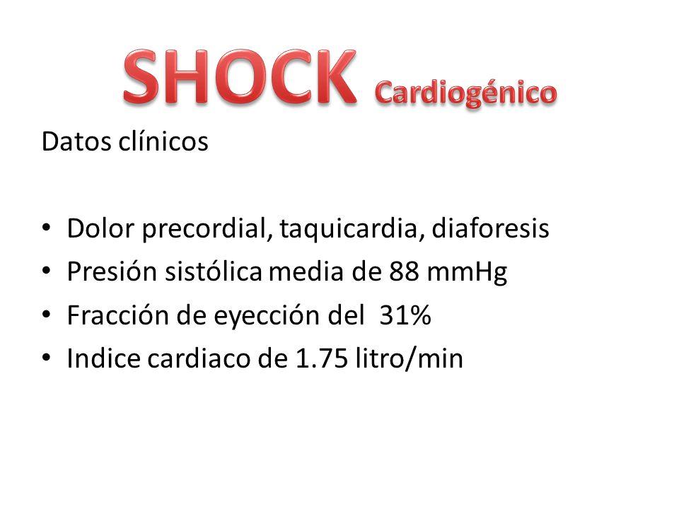 Datos clínicos Dolor precordial, taquicardia, diaforesis Presión sistólica media de 88 mmHg Fracción de eyección del 31% Indice cardiaco de 1.75 litro