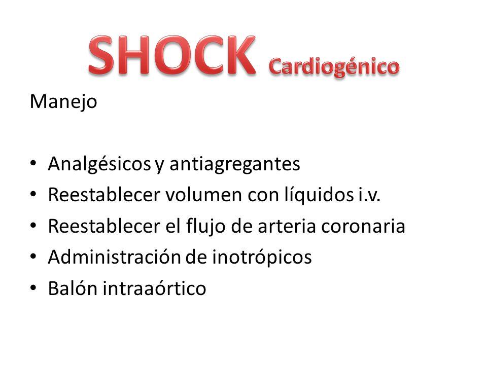Manejo Analgésicos y antiagregantes Reestablecer volumen con líquidos i.v. Reestablecer el flujo de arteria coronaria Administración de inotrópicos Ba