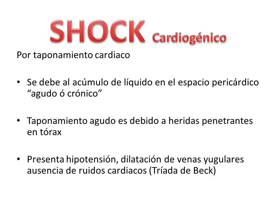 Por taponamiento cardiaco Se debe al acúmulo de líquido en el espacio pericárdico agudo ó crónico Taponamiento agudo es debido a heridas penetrantes e