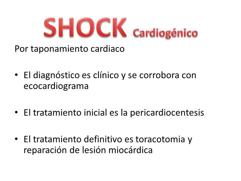 Por taponamiento cardiaco El diagnóstico es clínico y se corrobora con ecocardiograma El tratamiento inicial es la pericardiocentesis El tratamiento d