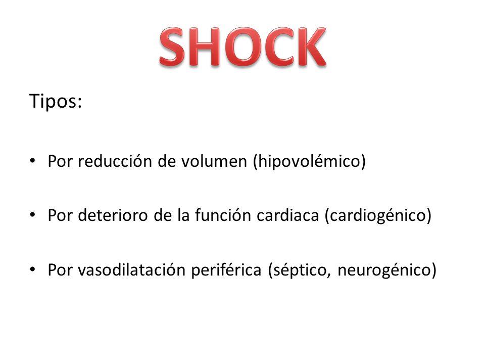 Tipos: Por reducción de volumen (hipovolémico) Por deterioro de la función cardiaca (cardiogénico) Por vasodilatación periférica (séptico, neurogénico