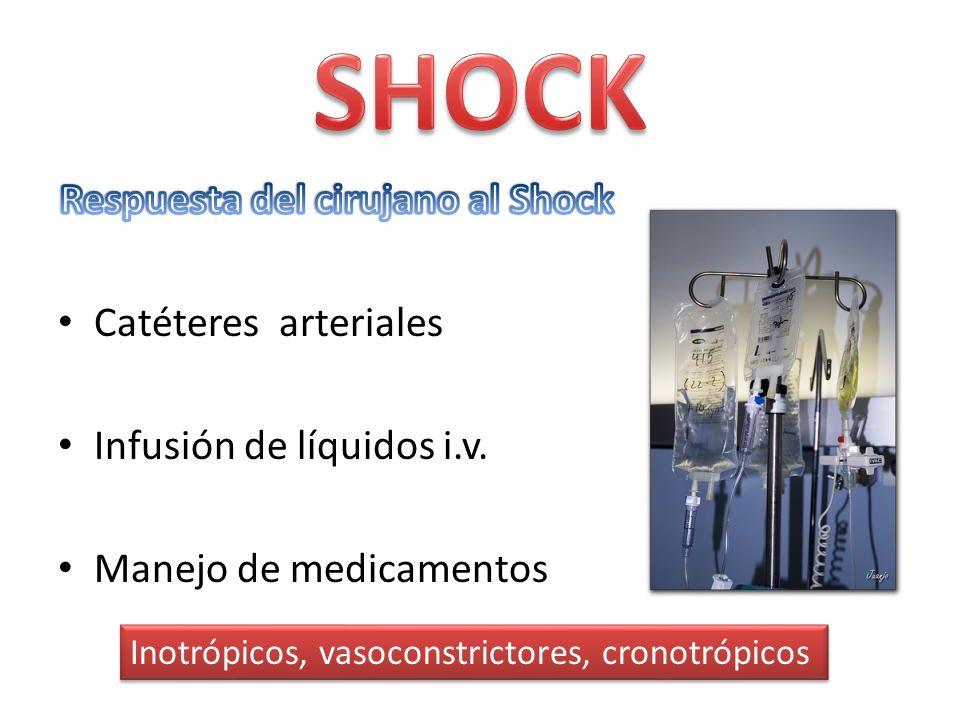 Catéteres arteriales Infusión de líquidos i.v. Manejo de medicamentos Inotrópicos, vasoconstrictores, cronotrópicos