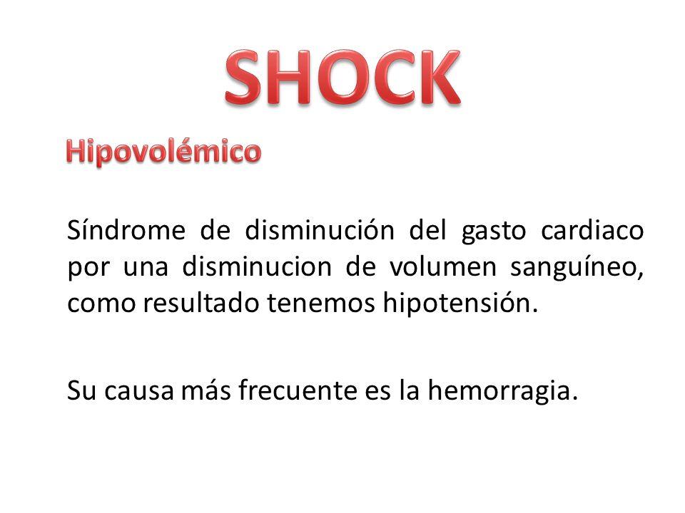 Síndrome de disminución del gasto cardiaco por una disminucion de volumen sanguíneo, como resultado tenemos hipotensión. Su causa más frecuente es la