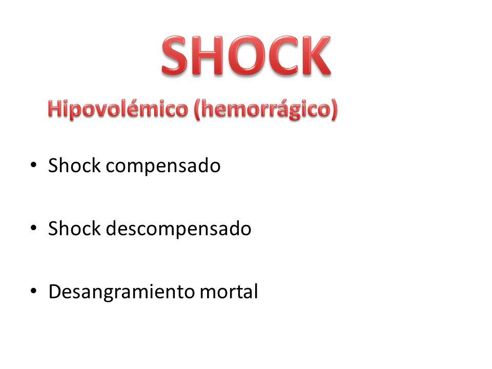 Shock compensado Shock descompensado Desangramiento mortal