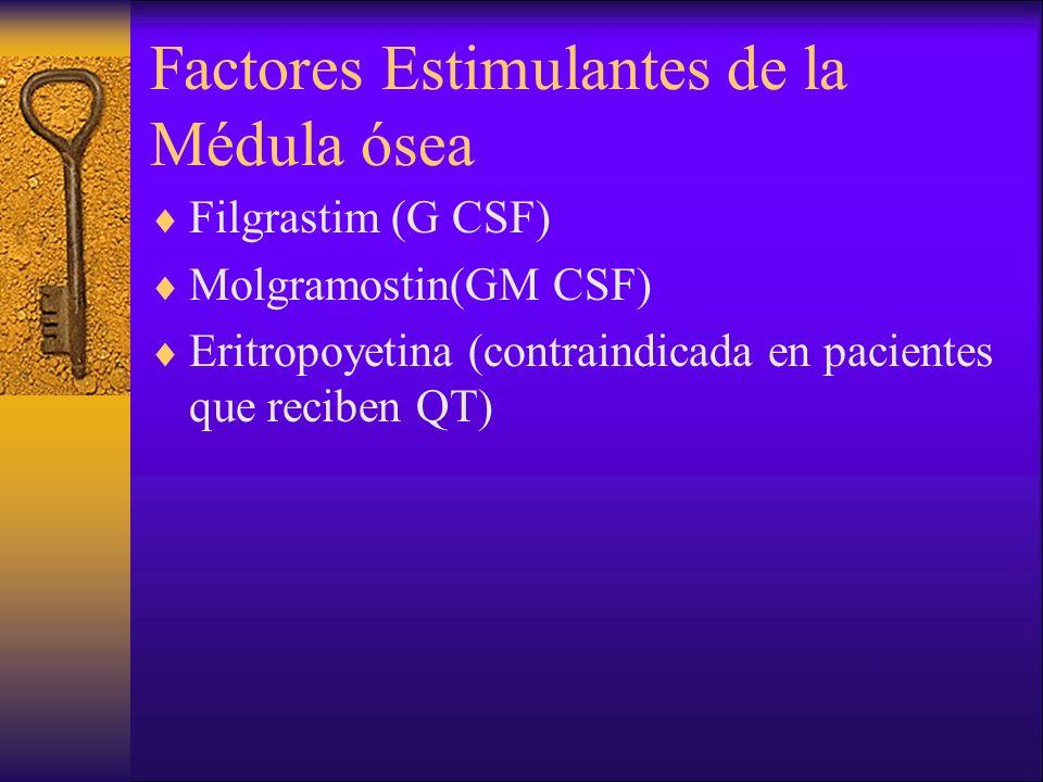 Factores Estimulantes de la Médula ósea Filgrastim (G CSF) Molgramostin(GM CSF) Eritropoyetina (contraindicada en pacientes que reciben QT)