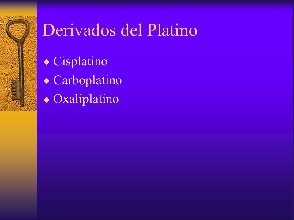 Derivados del Platino Cisplatino Carboplatino Oxaliplatino