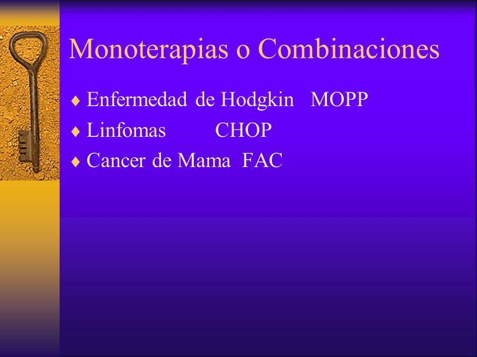 Monoterapias o Combinaciones Enfermedad de Hodgkin MOPP Linfomas CHOP Cancer de Mama FAC