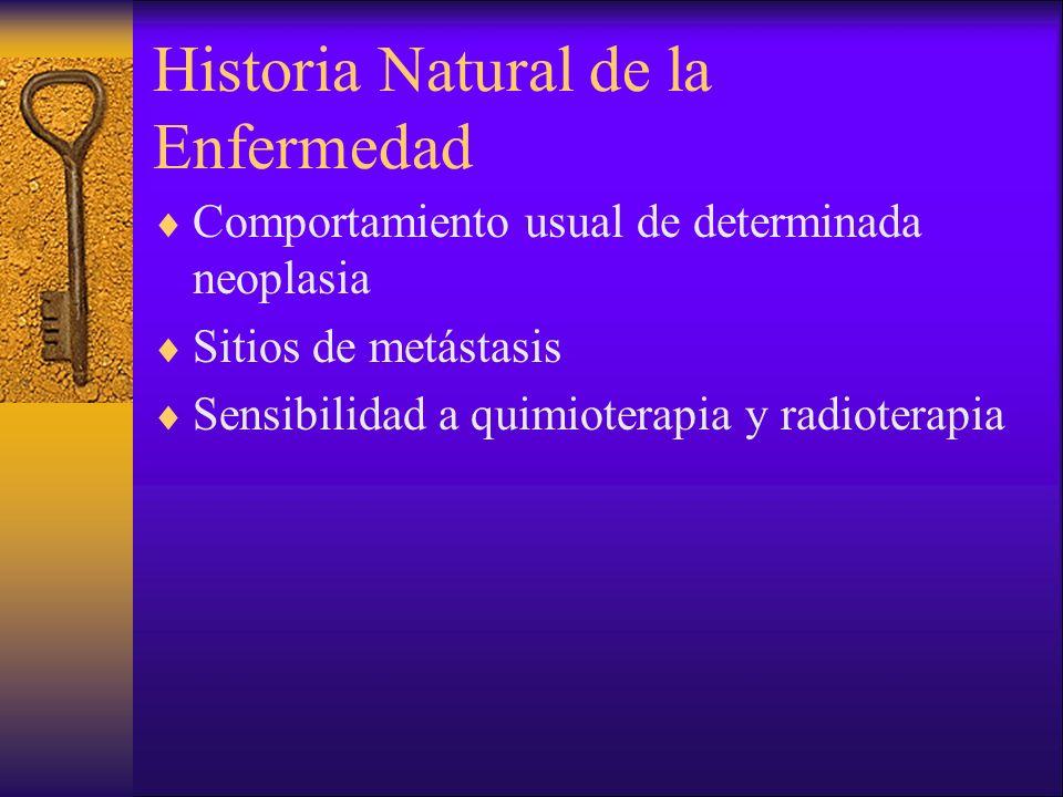 Historia Natural de la Enfermedad Comportamiento usual de determinada neoplasia Sitios de metástasis Sensibilidad a quimioterapia y radioterapia