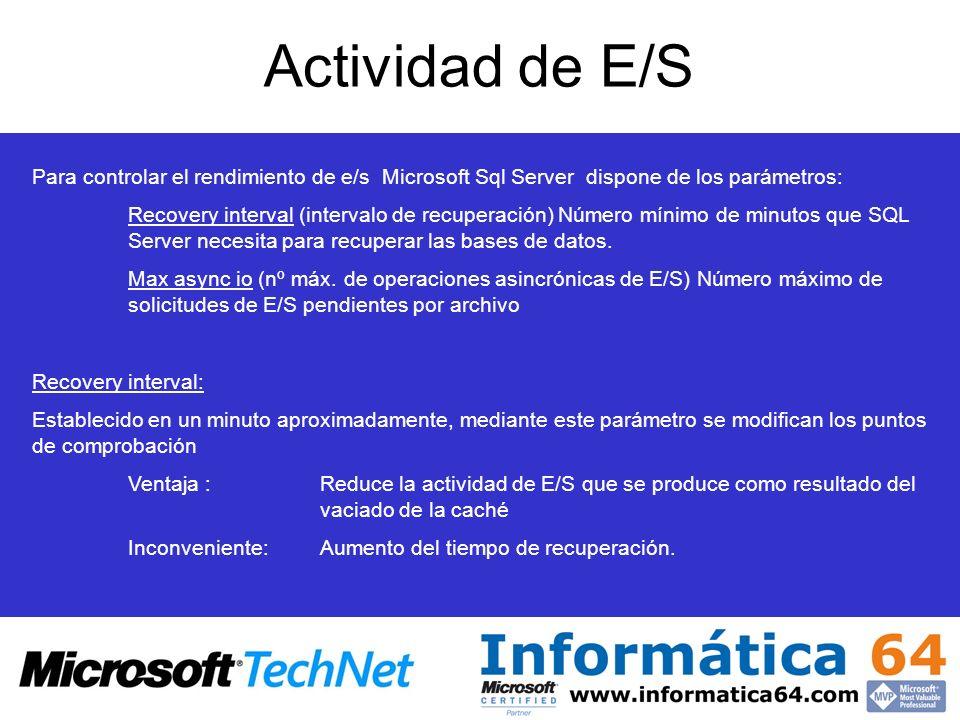 Actividad de E/S Para controlar el rendimiento de e/s Microsoft Sql Server dispone de los parámetros: Recovery interval (intervalo de recuperación) Número mínimo de minutos que SQL Server necesita para recuperar las bases de datos.