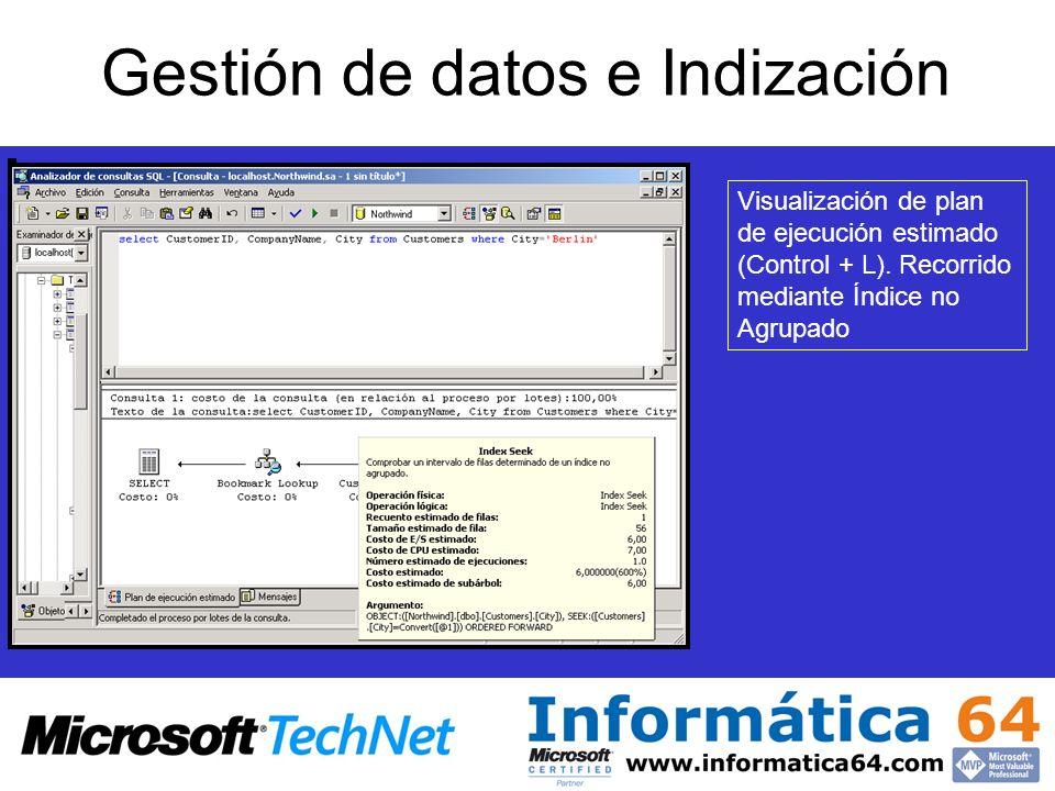 Gestión de datos e Indización Visualización de plan de ejecución estimado (Control + L).