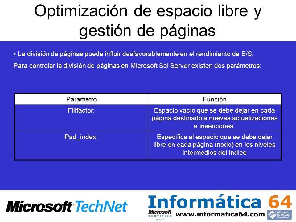 Optimización de espacio libre y gestión de páginas La división de páginas puede influir desfavorablemente en el rendimiento de E/S.