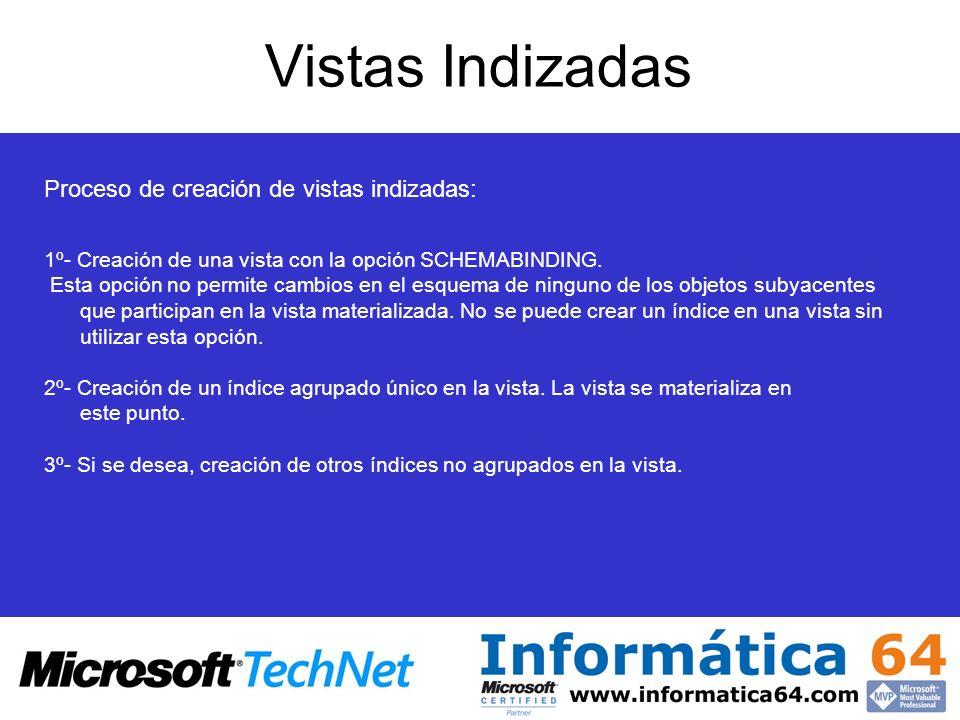 Vistas Indizadas Proceso de creación de vistas indizadas: 1º- Creación de una vista con la opción SCHEMABINDING.