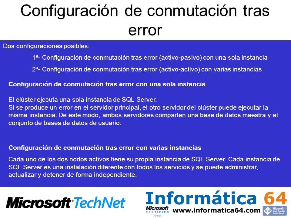 Dos configuraciones posibles: 1ª- Configuración de conmutación tras error (activo-pasivo) con una sola instancia 2ª- Configuración de conmutación tras error (activo-activo) con varias instancias Configuración de conmutación tras error con una sola instancia El clúster ejecuta una sola instancia de SQL Server.