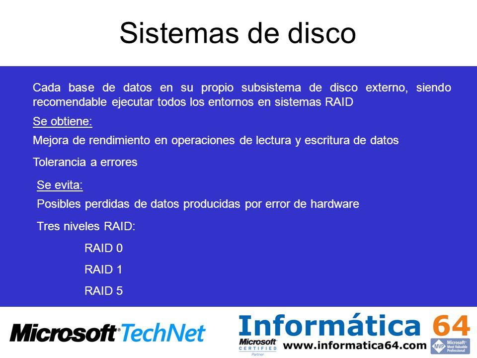 Sistemas de disco Mejora de rendimiento en operaciones de lectura y escritura de datos Tolerancia a errores Cada base de datos en su propio subsistema de disco externo, siendo recomendable ejecutar todos los entornos en sistemas RAID Se obtiene: Se evita: Posibles perdidas de datos producidas por error de hardware Tres niveles RAID: RAID 0 RAID 1 RAID 5