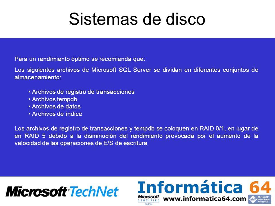 Sistemas de disco Para un rendimiento óptimo se recomienda que: Los siguientes archivos de Microsoft SQL Server se dividan en diferentes conjuntos de almacenamiento: Archivos de registro de transacciones Archivos tempdb Archivos de datos Archivos de índice Los archivos de registro de transacciones y tempdb se coloquen en RAID 0/1, en lugar de en RAID 5 debido a la disminución del rendimiento provocada por el aumento de la velocidad de las operaciones de E/S de escritura