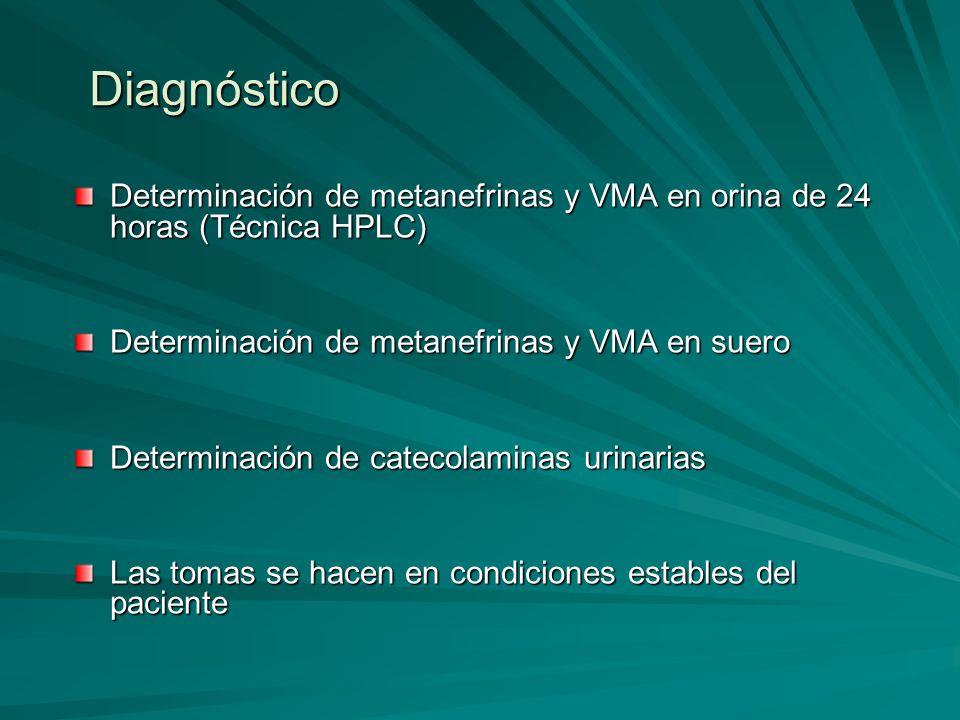 Diagnóstico Determinación de metanefrinas y VMA en orina de 24 horas (Técnica HPLC) Determinación de metanefrinas y VMA en suero Determinación de cate