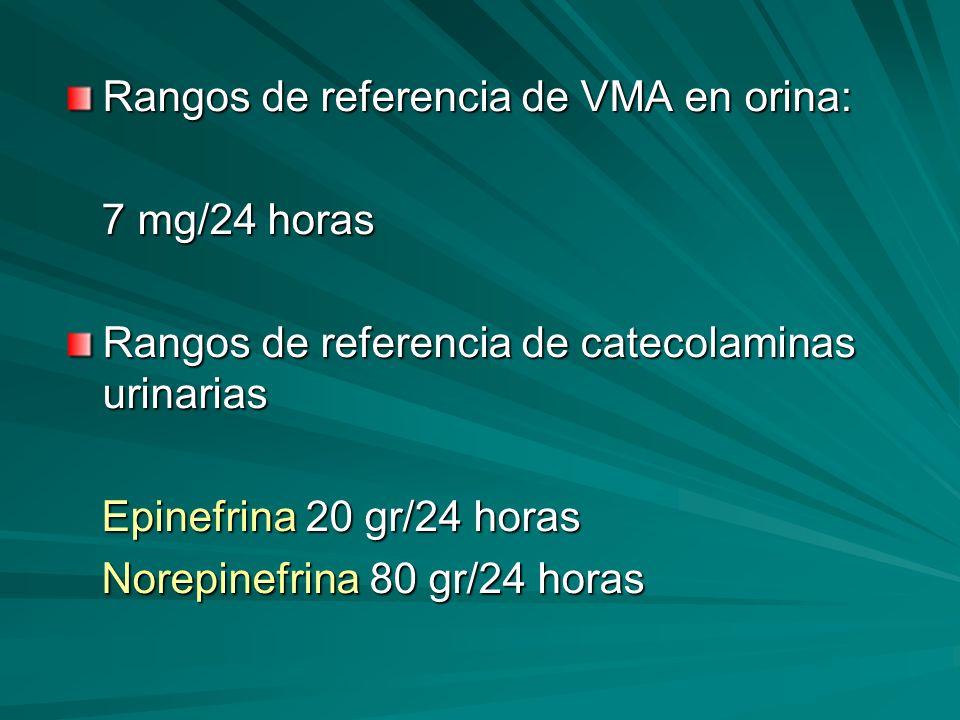Rangos de referencia de VMA en orina: 7 mg/24 horas 7 mg/24 horas Rangos de referencia de catecolaminas urinarias Epinefrina 20 gr/24 horas Epinefrina