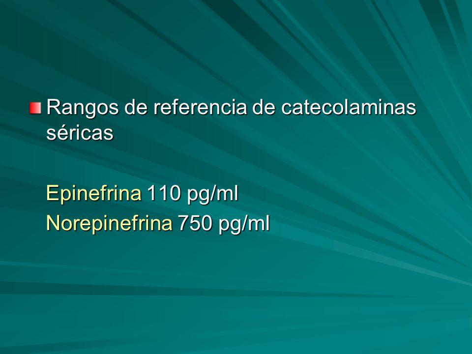 Rangos de referencia de catecolaminas séricas Epinefrina 110 pg/ml Epinefrina 110 pg/ml Norepinefrina 750 pg/ml Norepinefrina 750 pg/ml
