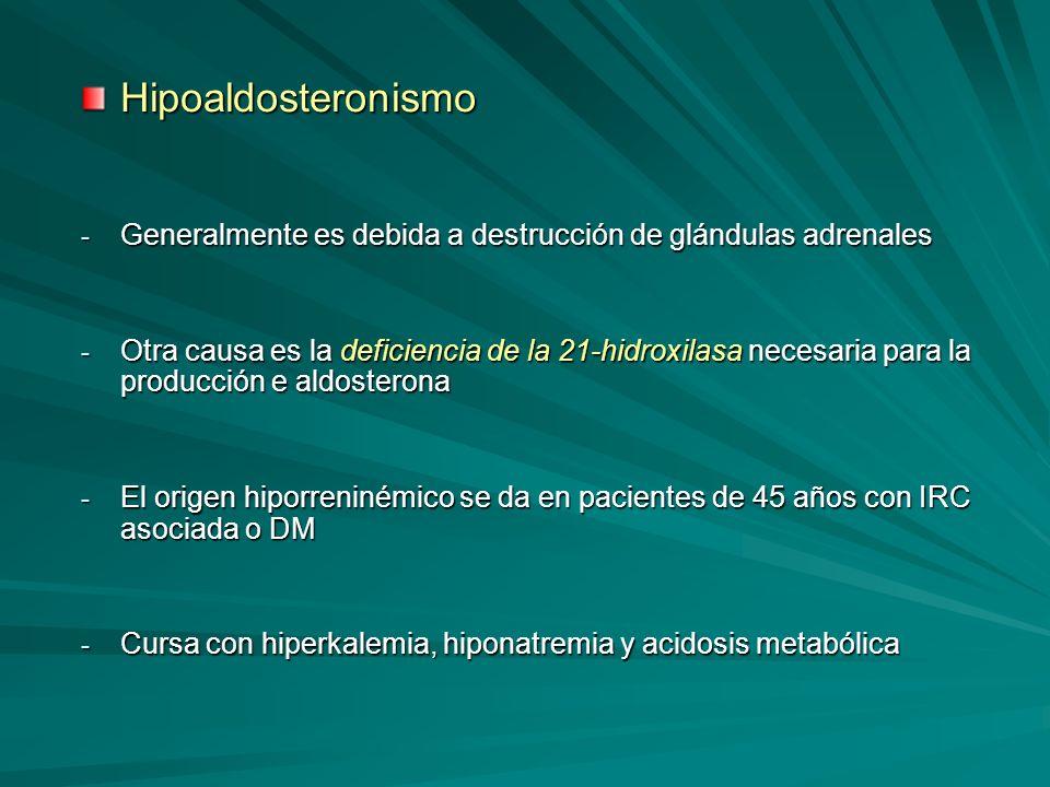 Hipoaldosteronismo - Generalmente es debida a destrucción de glándulas adrenales - Otra causa es la deficiencia de la 21-hidroxilasa necesaria para la