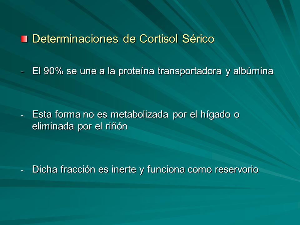 Determinaciones de Cortisol Sérico - El 90% se une a la proteína transportadora y albúmina - Esta forma no es metabolizada por el hígado o eliminada p