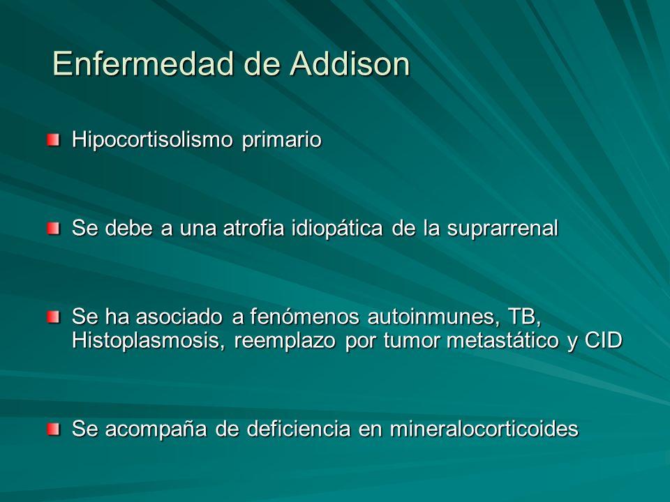Enfermedad de Addison Hipocortisolismo primario Se debe a una atrofia idiopática de la suprarrenal Se ha asociado a fenómenos autoinmunes, TB, Histopl