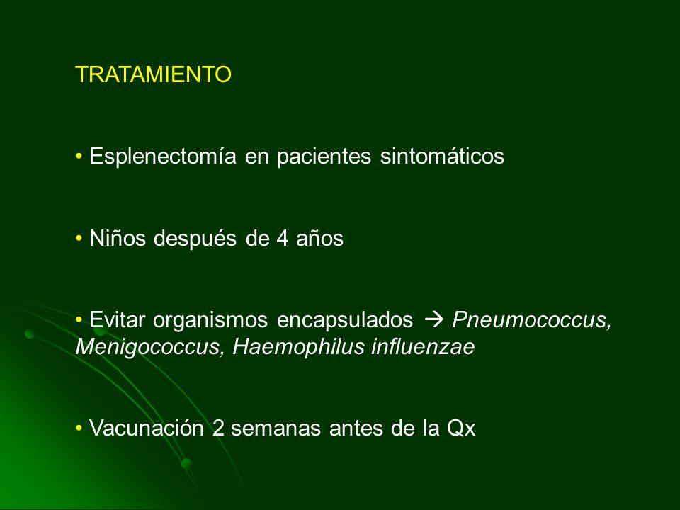 TRATAMIENTO Esplenectomía en pacientes sintomáticos Niños después de 4 años Evitar organismos encapsulados Pneumococcus, Menigococcus, Haemophilus inf
