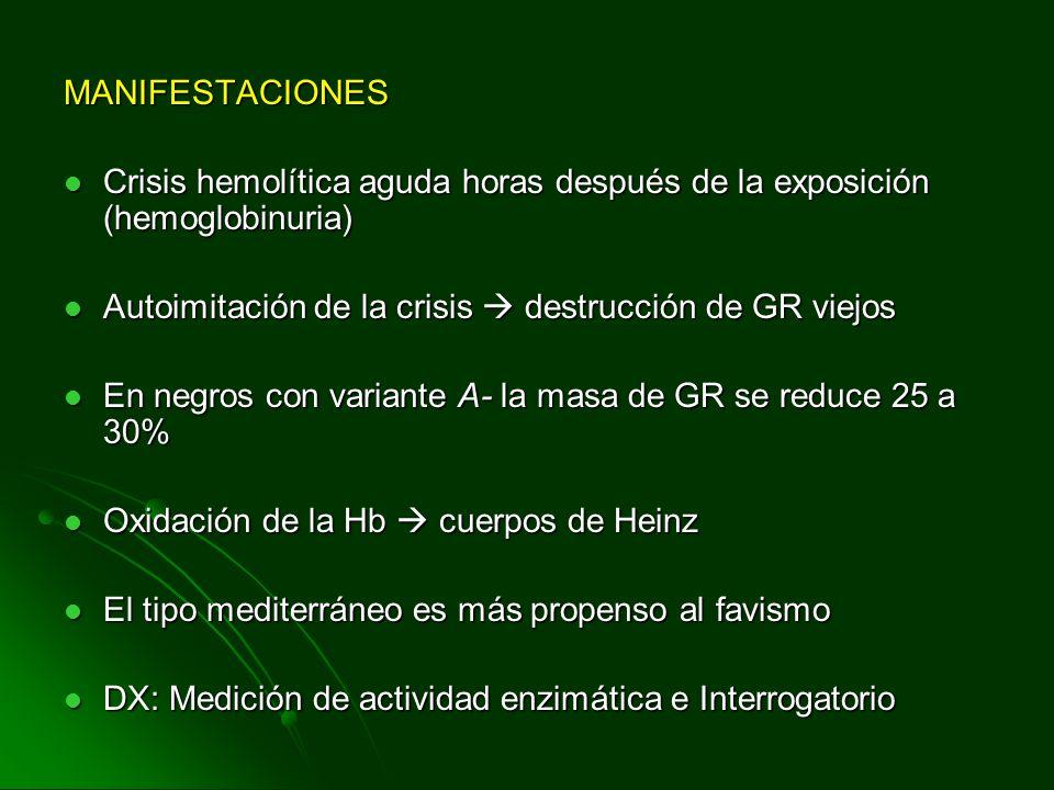 MANIFESTACIONES Crisis hemolítica aguda horas después de la exposición (hemoglobinuria) Crisis hemolítica aguda horas después de la exposición (hemogl