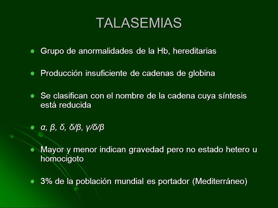 TALASEMIAS Grupo de anormalidades de la Hb, hereditarias Grupo de anormalidades de la Hb, hereditarias Producción insuficiente de cadenas de globina P