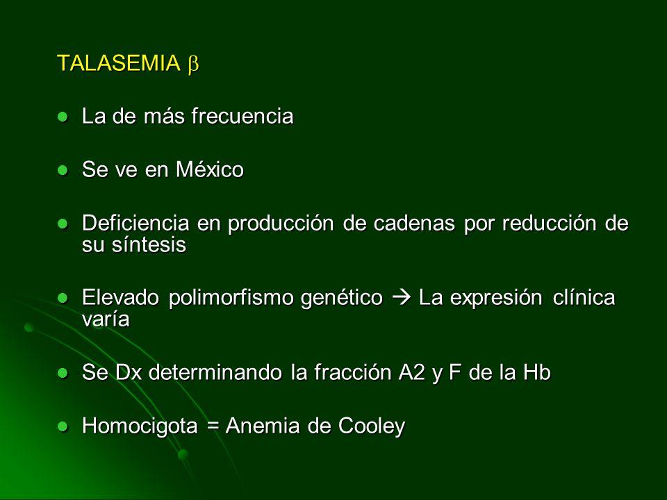 TALASEMIA TALASEMIA La de más frecuencia La de más frecuencia Se ve en México Se ve en México Deficiencia en producción de cadenas por reducción de su